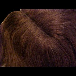 "2 Antique brunette human hair doll wigs 14-16"""