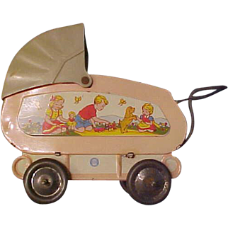 """Ohio Art 5"""" tin doll carriage great graphics Pink with tan top"""