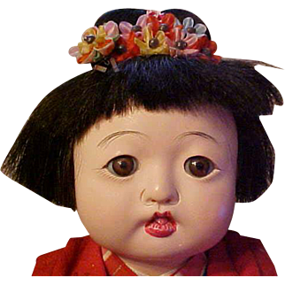 "Large pair vintage Japanese Ichimatsu dolls all original excellent condition 14"""