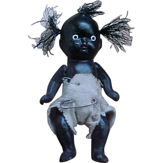 """5"""" Black Jointed Bisque Baby Doll with diaper 3 tufts of hair"""