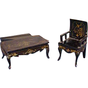 Dollhouse Asian Black Lacquer hand painted gold design Japanese table and chair
