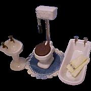 Miniature dollhouse vintage porcelain bathroom set Shackman Japan towel and rug