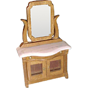 "5 1/4"" Wood Mirror dresser with marble top vintage dollhouse furniture"