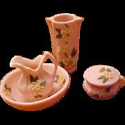 Rare Miniature dollhouse Belleek ? 5 pc pitcher bowel vase set applied flowers FABULOUS