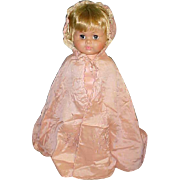"30"" long Antique pink silk child baby for bisque doll cape fully lined embroidered flowers"