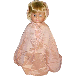 """30"""" long Antique pink silk child baby for bisque doll cape fully lined embroidered flowers"""