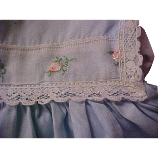 """Beautiful vintage factory light blue pink roses doll dress for your 15"""" Dydee baby doll"""