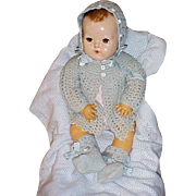 "Vintage blue 4 pc Baby Doll Sweater Set for 20"" Dydee of 24"" Horsman - Red Tag Sale Item"
