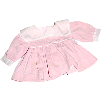 """Pink dress with attached panties white bib collar 7"""" L for 13"""" Tiny Tears Dydee Baby"""