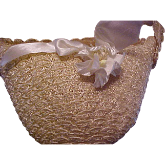 1950's light colored straw bucket doll purse MINT never used for large doll