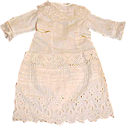 """12"""" L white antique eyelet HAND SEWN dress for up to 18"""" doll pin tuck"""