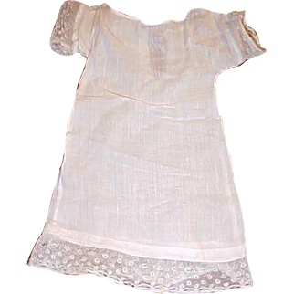 """9"""" long white Antique Doll Dress with Lace hem simple 9"""" waist for small doll"""