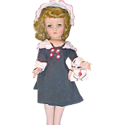 """Navy blue and white A line coat and hat for 14"""" Toni or Harriet Hubbard Ayer doll"""