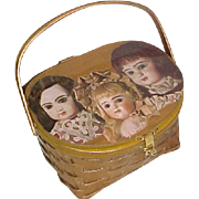 Small Child's picnic basket purse with antique doll photos