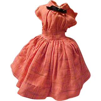 "Miss Revlon Kissing Pink linen plum dress for 18"" doll remnant of tag"