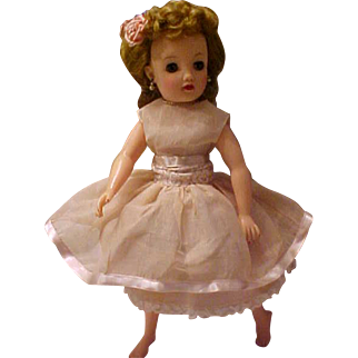 "4 piece pink organdy vintage dress for 18"" Miss Revlon doll"