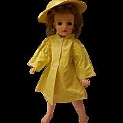 "Yellow vinyl raincoat slicker and matching hat for 18"" Miss Revlon doll"