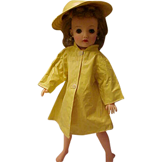 "Yellow vinyl raincoat slicker and matching hat for 18"" Miss Revlon doll"