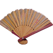 """3 3/4"""" Japan material/wood doll fan accessory excellent condition"""