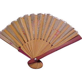 "3 3/4"" Japan material/wood doll fan accessory excellent condition"