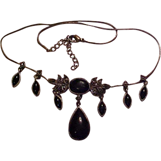 Marcasite and black onyx teardrop vintage costume necklace as found for antique doll 6""