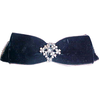 6 x 2 inch antique Velvet hair bow with rhinestone pin in center for doll or hat