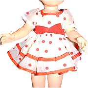 "Complete red polkadot dress outfit for 16"" Ideal Shirley Temple doll"