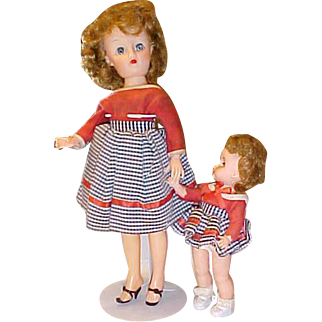 "Vintage 14"" and 8"" vinyl dolls Mommy and Me or Sisters dressed alike"