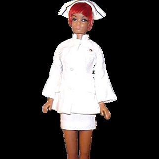 RARE black JULIA nurse 1968 Pat pend Mattel with HTF short white uniform