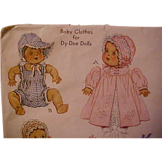 RARE and HTF McCall Dy-Dee Baby Doll pattern size 11 from 1938