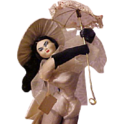 LAYNA French dancer with parasol risque costume Made in Spain