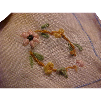 """2 1/2""""  Square hand stitched doll handkerchief Embroidered Flowers"""