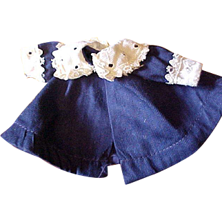 Adorable 1950's tagged Vogue navy blue Ginny Ginnette coat with white eyelet cuffs collar