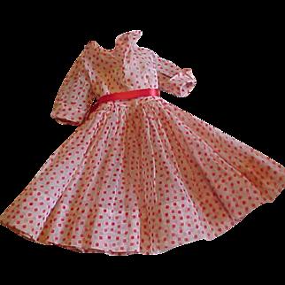 Cissy red white organdy Polka Dot shirtwaist dress tagged TLC