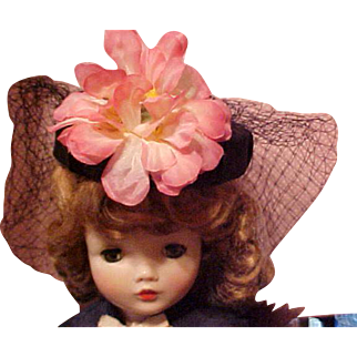 Black satin hat with veil and big pink flower for Cissy or Miss Revlon doll
