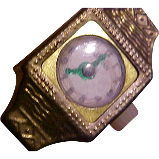 Old gold tone tin doll watch Japan green hands square face 1930's 1940's