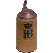 German HB metal tin toy dollhouse miniature beer stein early 1900's Germany Hofbrauhaus