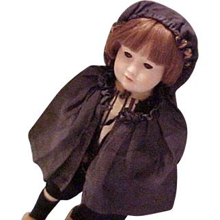 "Black silk ribbed small doll hooded cape very old fits 8-9"" head"