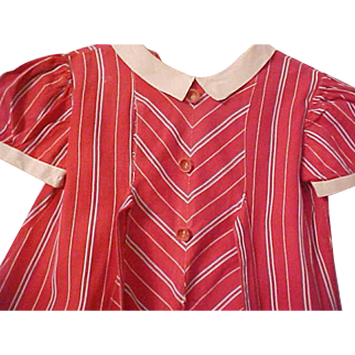 1950's Girl School red striped cotton dress white collar cuffs A line red buttons PPP