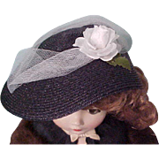 Lovely Navy blue Cissy straw picture hat white rose