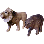 """3"""" 1930's Celluloid lion and bear child toys"""