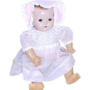 """Original pink organdy dress bonnet for 20"""" Effanbee Dydee Baby doll 1940's Exc cond"""