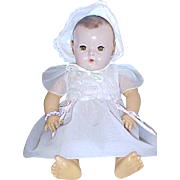 """White nylon embroidered bodice pink ribbons dress for 20"""" Dydee Baby doll 1940's"""