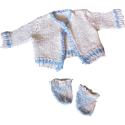 "Blue white booties and sweater for 11-14"" Dydee Baby doll"
