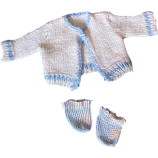"""Blue white booties and sweater for 11-14"""" Dydee Baby doll"""