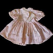 "9"" length vintage Pink Rose Print Cotton doll dress for Hard Plastic doll 1950's"