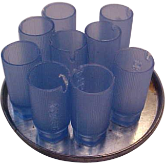 Blue beverage glasses and mirrored tray Dollhouse size Vintage