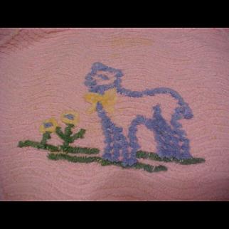 "24"" x 18"" vintage pink Chenille doll bedspread blanket lamb flowers"
