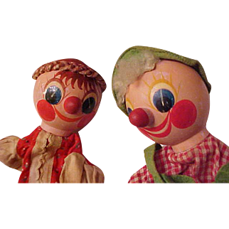 """Pair 11"""" Wood round Head hand painted Hansel Gretel hand puppets OLD"""