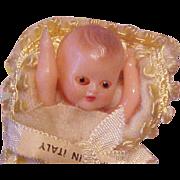 """2 1/2"""" baby in blanket Italy sleep eyes Vintage"""